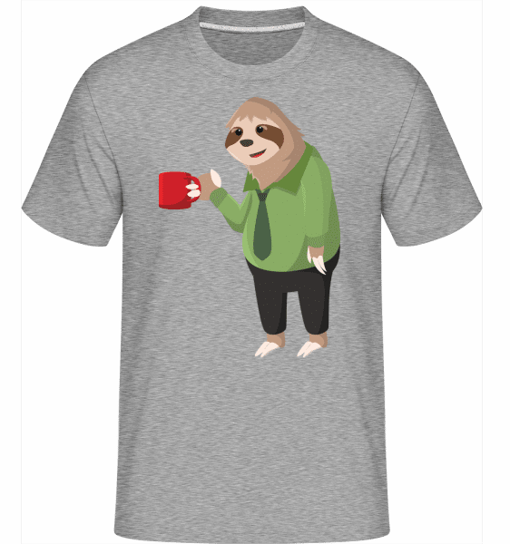 Sloth Drinks Coffee -  Shirtinator Men's T-Shirt - Heather grey - Vorn