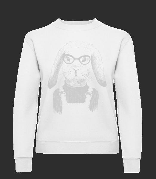 Hipster Rabbit - Classic Ladies' Set-In Sweatshirt - White - Vorn