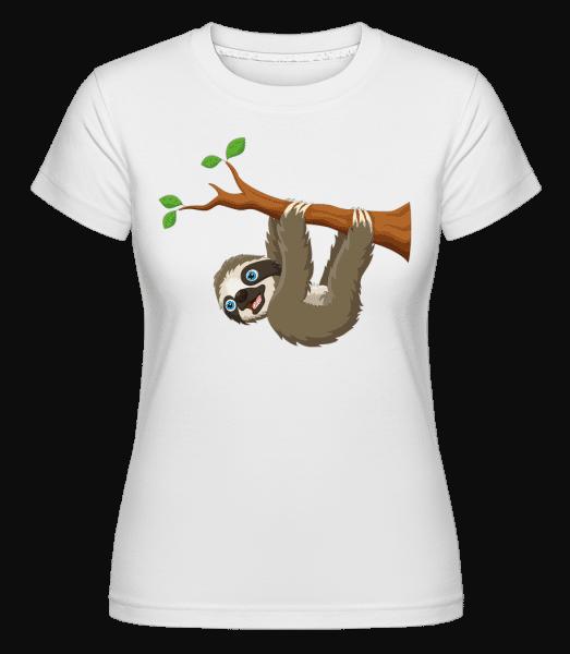 Süßes Faultier am Ast -  T-shirt Shirtinator femme - Blanc - Vorn