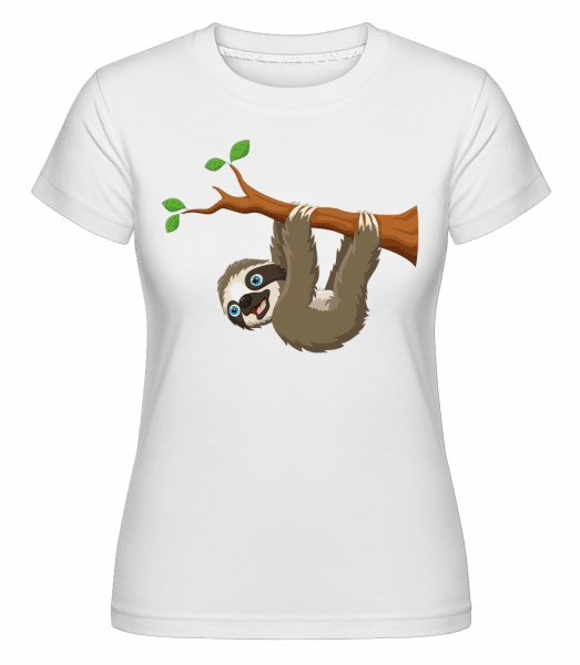 Süßes Faultier am Ast -  Shirtinator Women's T-Shirt - White - Vorn
