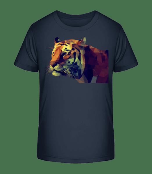 Polygone Tiger - Kid's Premium Bio T-Shirt - Navy - Vorn