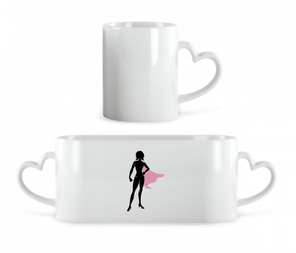Superwoman Silhouette - Heart Mug - White - Vorn