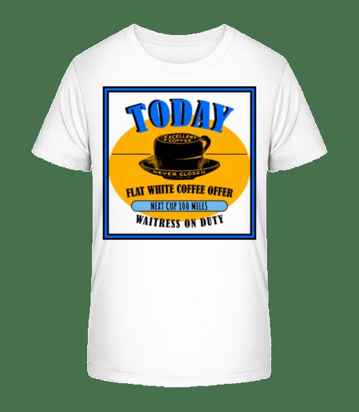 Flat White Coffee Offer - Kinder Premium Bio T-Shirt - Weiß - Vorn