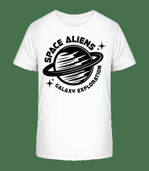 Space Aliens Galaxy Exploration - Kinder Premium Bio T-Shirt - Weiß - Vorn