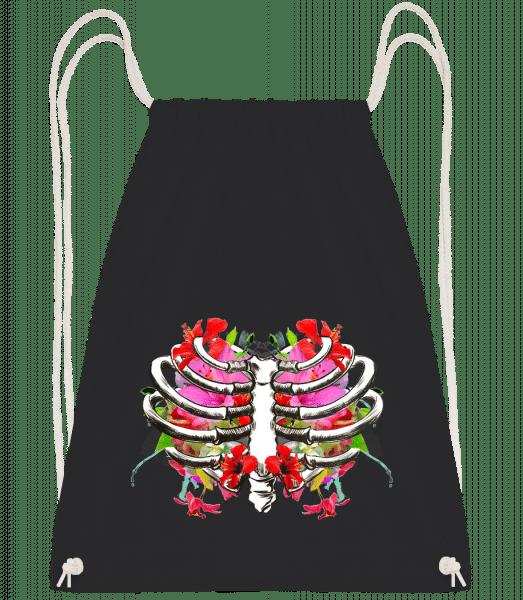 Flowers Lung - Drawstring Backpack - Black - Vorn