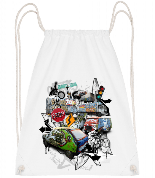 Traffic Chaos - Drawstring Backpack - White - Vorn