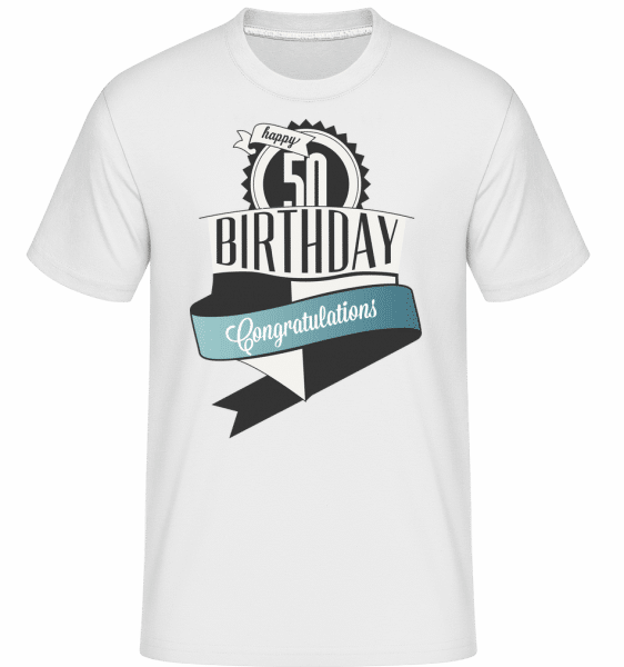 50 Birthday Congrats -  Shirtinator Men's T-Shirt - White - Vorn