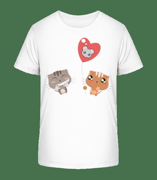 Katzen Herz Ballon - Kinder Premium Bio T-Shirt - Weiß - Vorn