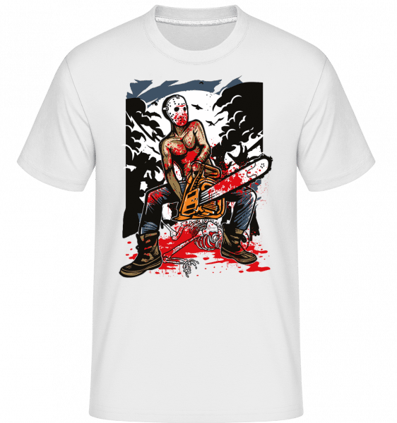 Chainsaw Killer -  T-Shirt Shirtinator homme - Blanc - Vorn