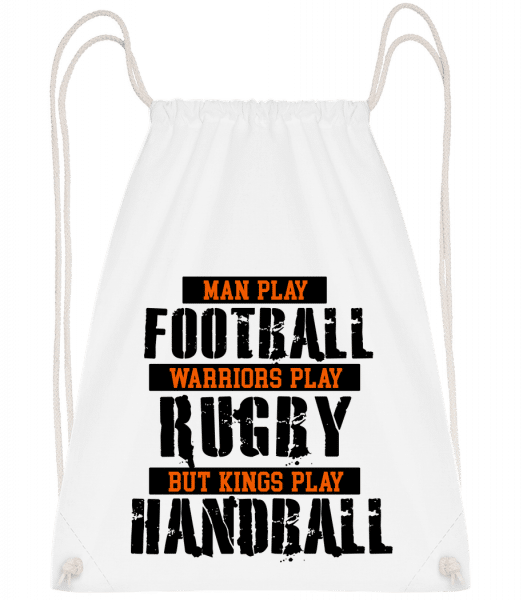 Kings Play Handball - Drawstring Backpack - White - Vorn