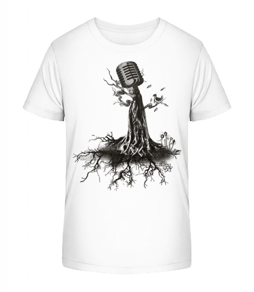 Microphone Tree - Kid's Premium Bio T-Shirt - White - Vorn