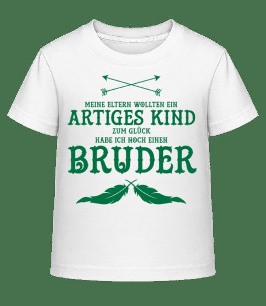 Zum Glück Habe Ich Einen Bruder - Kinder Shirtinator T-Shirt - Weiß - Vorn