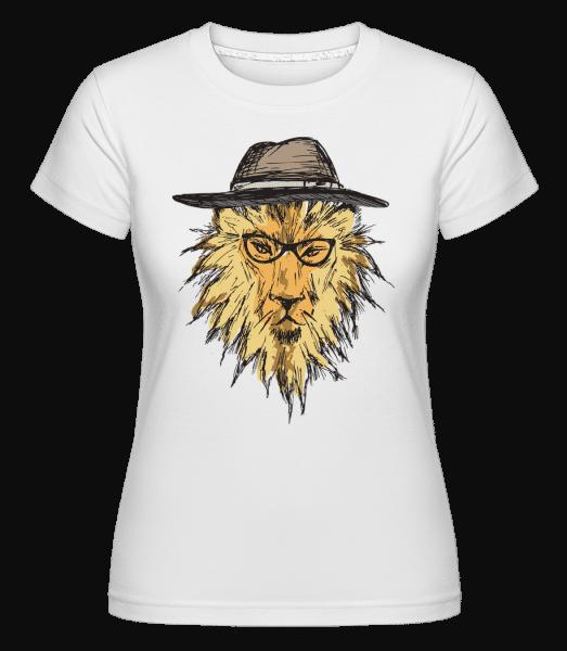 Lion With Hat -  Shirtinator Women's T-Shirt - White - Vorn