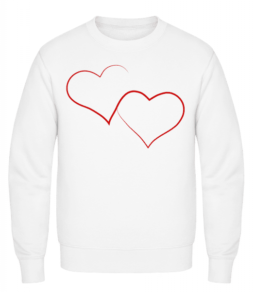 Two Hearts - Classic Set-In Sweatshirt - White - Vorn