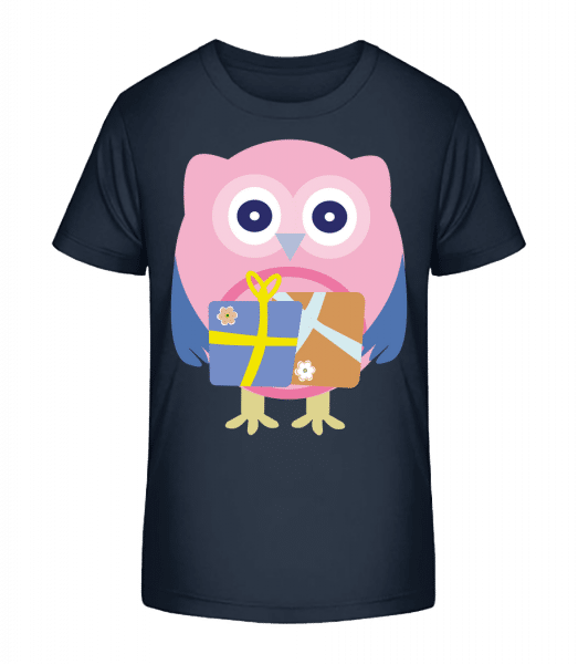 Cute Owl With Presents - Kid's Premium Bio T-Shirt - Navy - Front