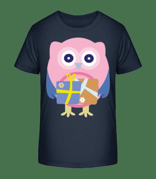 Cute Owl With Presents - Detské Premium Bio tričko - Namornícka modrá - Predné