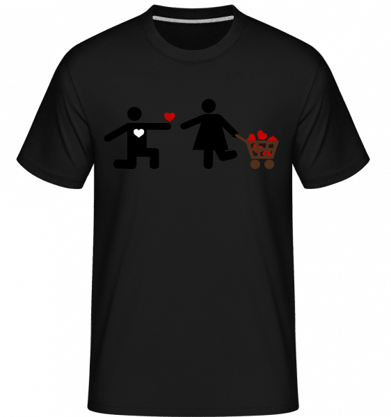 Woman And Man With Heart Logo -  Shirtinator Men's T-Shirt - Black - Front