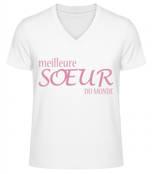 Meilleure Sœur Du Monde - T-shirt bio col en V Homme - Blanc - Vorn