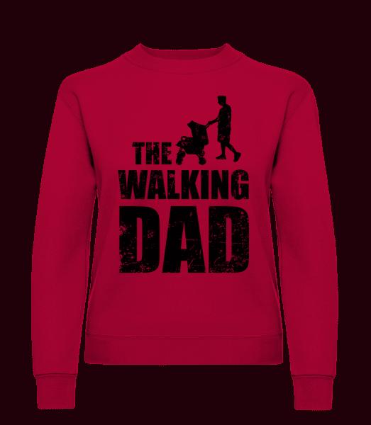 The Walking Dad - Sweat-shirt classique avec manches set-in pour femme - Rouge - Vorn