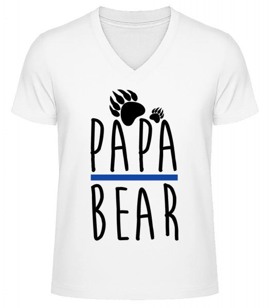 Papa Bear - Men's V-Neck Organic T-Shirt - White - Front