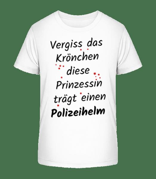 Prinzessin Trägt Polizeihelm - Kinder Premium Bio T-Shirt - Weiß - Vorn