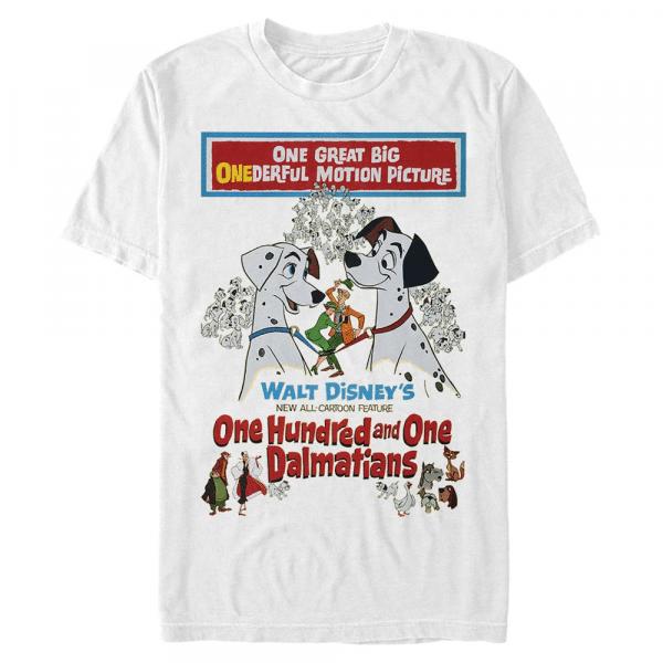 Vintage Poster Dog - Disney 101 Dalmatians - Men's T-Shirt - White - Front