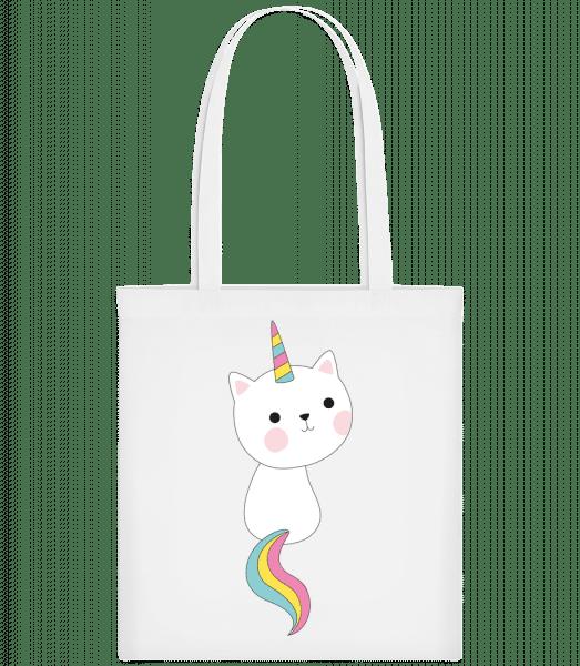 Süße Einhorn Katze - Stoffbeutel - Weiß - Vorn