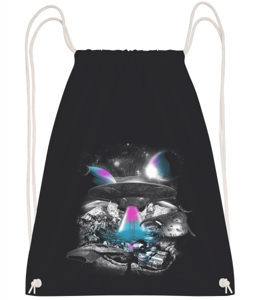 UFO Surreal Landscape - Drawstring Backpack - Black - Vorn