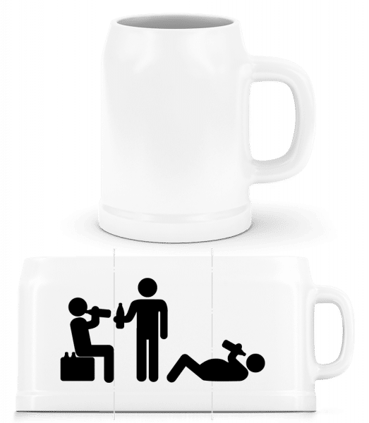 Friends Drinking Beer - Beer Mug - White - Vorn
