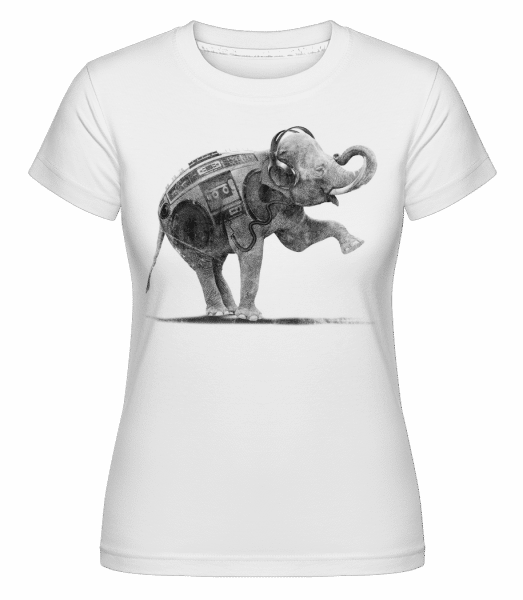 Ghettoblaster Elephant -  Shirtinator Women's T-Shirt - White - Vorn