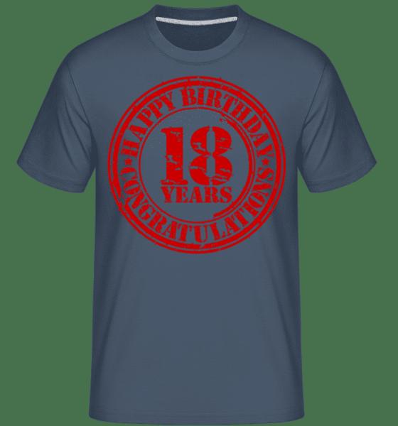 Birthday 18 - Shirtinator Männer T-Shirt - Denim - Vorn