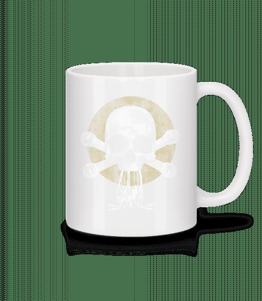 Crâne Avec Microphone - Mug en céramique blanc - Blanc - Devant