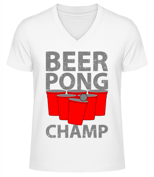 Beer Pong Champ - Men's V-Neck Organic T-Shirt - White - Vorn