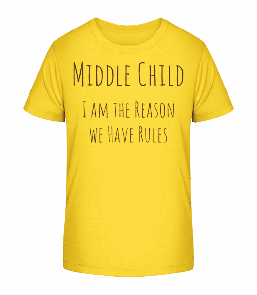 Middle Child - Kid's Premium Bio T-Shirt - Yellow - Vorn