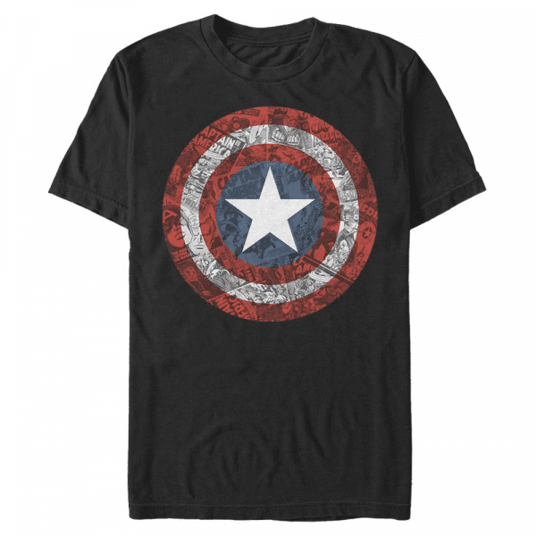 ComicBook Shield Captain America - Marvel Avengers - Men's T-Shirt - Black - Front