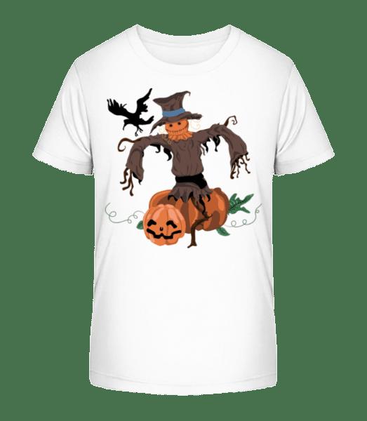 Citrouille Et Épouventail - T-shirt bio Premium Enfant - Blanc - Devant