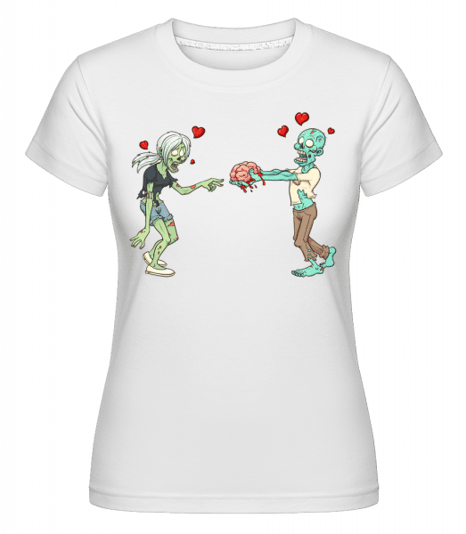 Zombies In Love -  Shirtinator Women's T-Shirt - White - Vorn