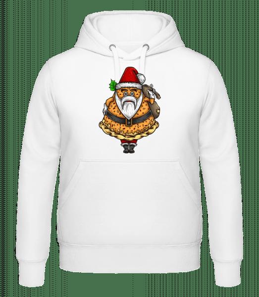 Weihnachtsmann Pizza -  Kapuzenhoodie - Weiß - Vorn