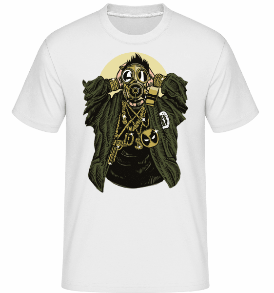 Gasmask Gangsta -  Shirtinator Men's T-Shirt - White - Front