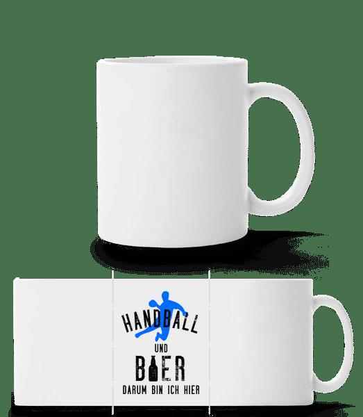 Handball Und Bier - Panoramatasse - Weiß - Vorn