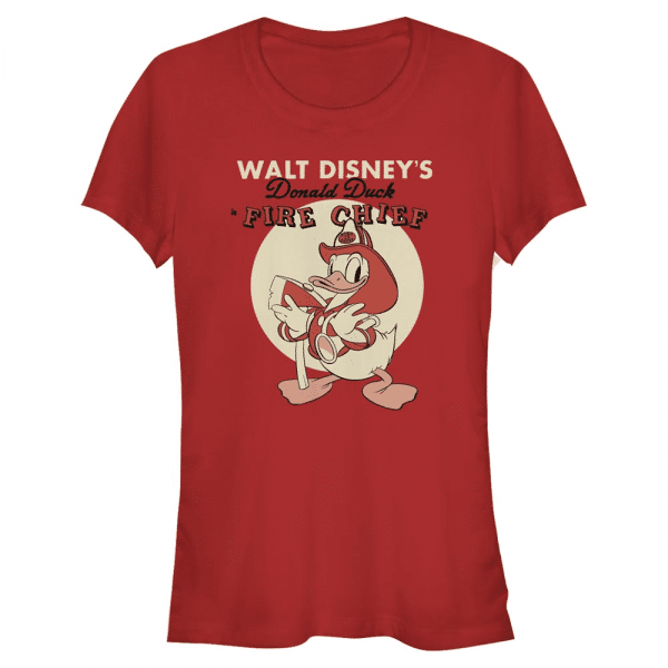 Vintage Fireman Donald Mickey Mouse - Disney Mickey - Women's T-Shirt - Red - Front
