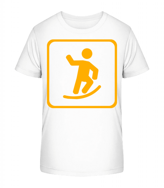 Skateboard Zeichen - Kinder Premium Bio T-Shirt - Weiß - Vorn