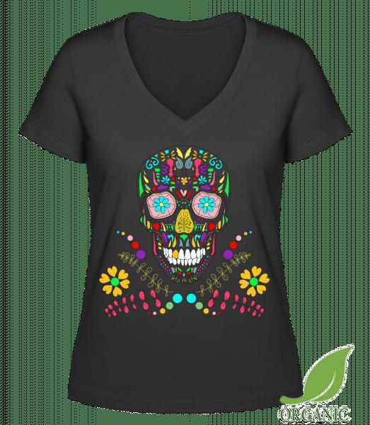 """Colorful Skull - """"Janet"""" Organic V-Neck T-Shirt - Black - Vorn"""