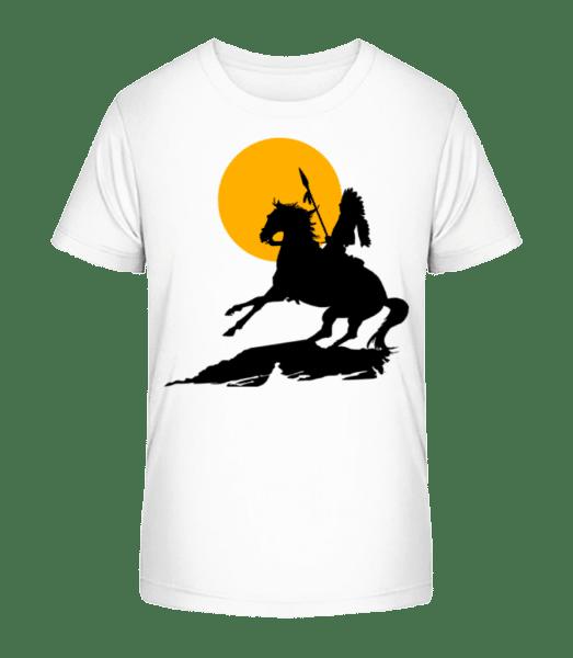 Knight Silhouette Sunset - Kid's Premium Bio T-Shirt - White - Vorn