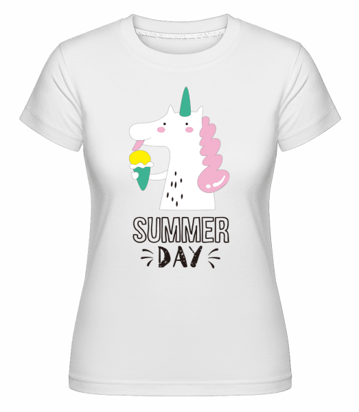 Summer Day Unicorn -  Shirtinator Women's T-Shirt - White - Front