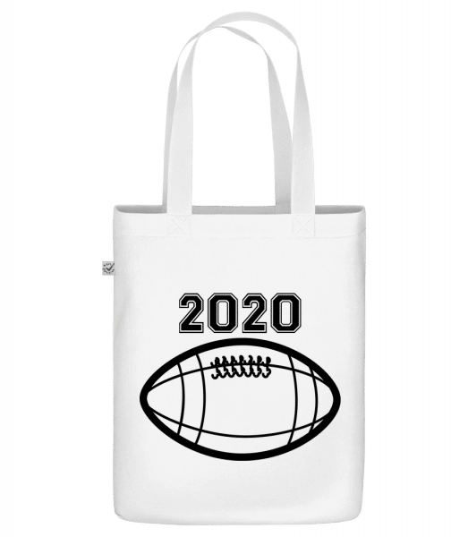 """Football 2020 - Organic """"Earth Positive"""" tote bag - White - Front"""