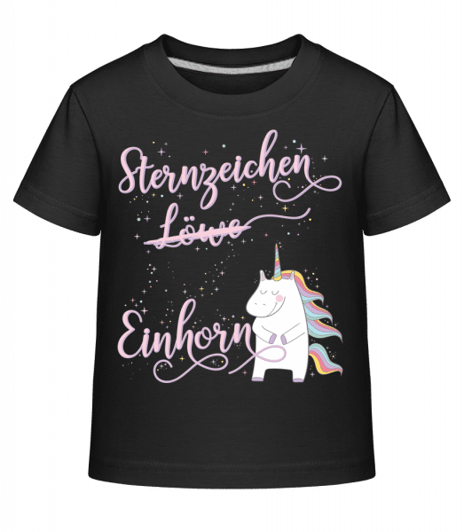 Sternzeichen Einhorn Löwe - Kinder Shirtinator T-Shirt - Schwarz - Vorn