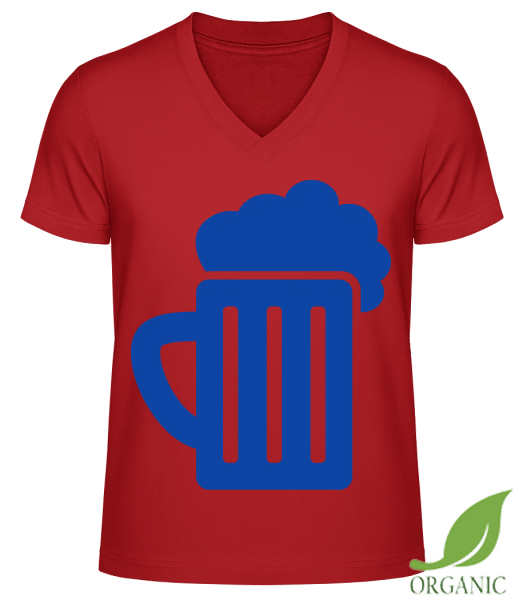 "Beer - ""James"" Organic V-Neck T-Shirt - Red - Vorn"