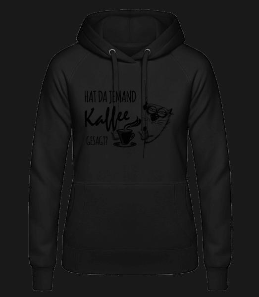 Kaffee Katze - Frauen Hoodie - Schwarz - Vorn