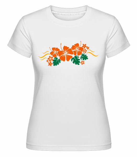 Flower Ornament Orange - Shirtinator Frauen T-Shirt - Weiß - Vorn